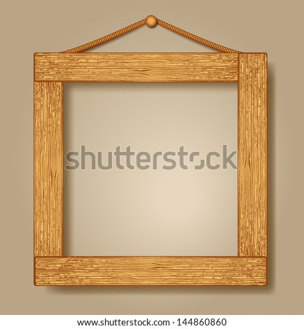 Design wooden photo frames. Raster version of vector. - stock photo