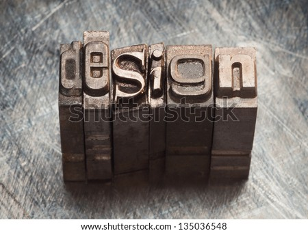 Design word letters with vintage grunge letterpress type - stock photo