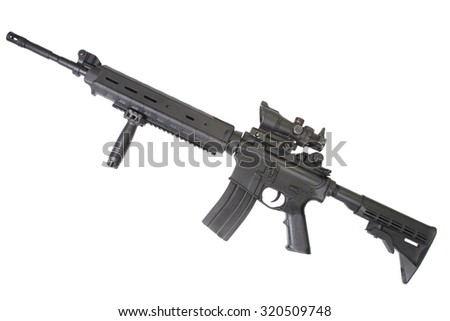 Designated marksmans rifle rifle isolated on a white background - stock photo