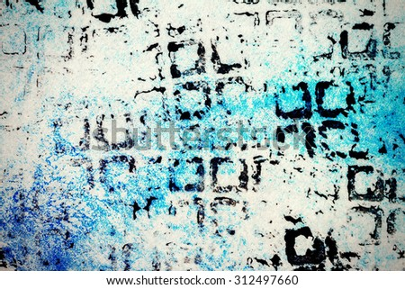 Designed abstract hand drawn blue watercolor background