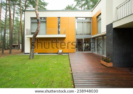 Designed and expensive house in the suburbs - stock photo