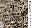 Designed background, brown. Collage of numbers made of newspaper clippings. - stock photo