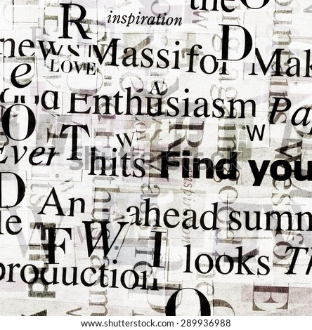 Designed background. Handmade collage made of newspaper and magazine clippings of mixed words in black and white  - stock photo