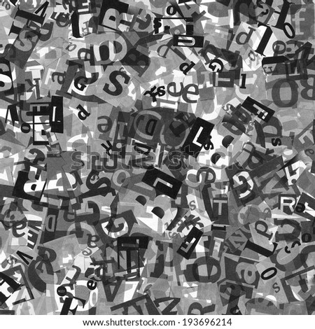 Designed black and white background of letters from newspaper clippings  - stock photo