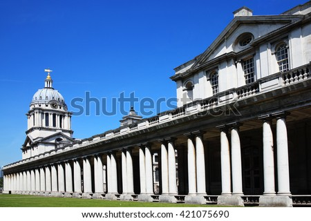 Designed by Sir Christopher Wren and built between 1696-1712 as Greenwich Hospital in Greenwich, England, UK. The Old Royal Naval College was established in 1873 - stock photo