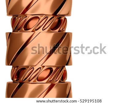 Designed copper spiral 3d rendering.