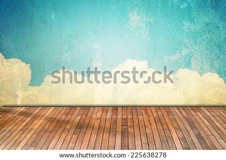 Designed grunge paper texturel with wooden floor - stock photo
