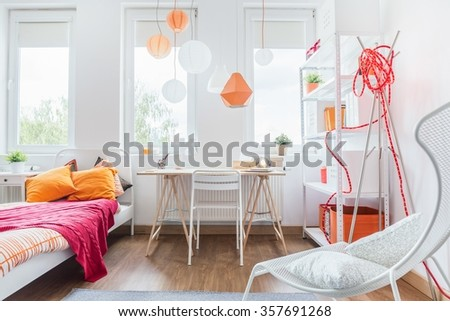 Designed interior for teenage girl or student