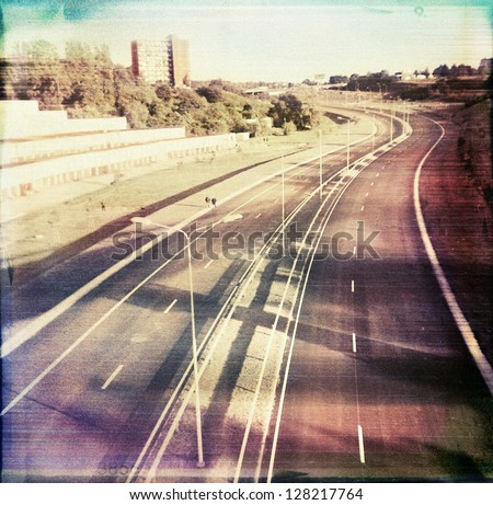 Designed retro medium format color photo. Used original negative. - stock photo
