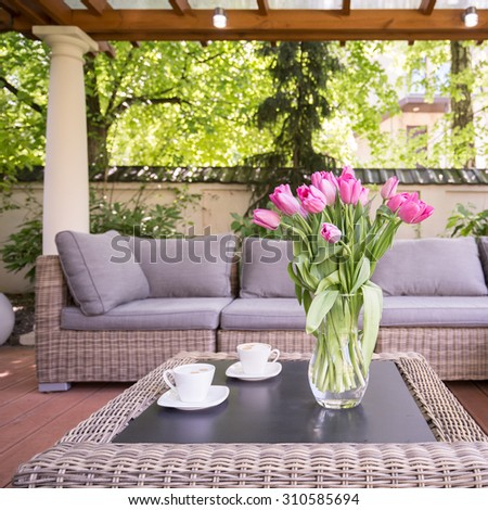 Designed space for relax in modern garden - stock photo