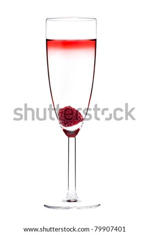 Designer cocktail isolated over white with raspberry in Champaign flute