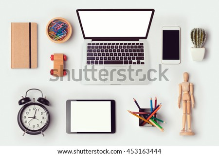 Designer desk objects mock up template with laptop computer for branding identity design. View from above. Flat lay - stock photo