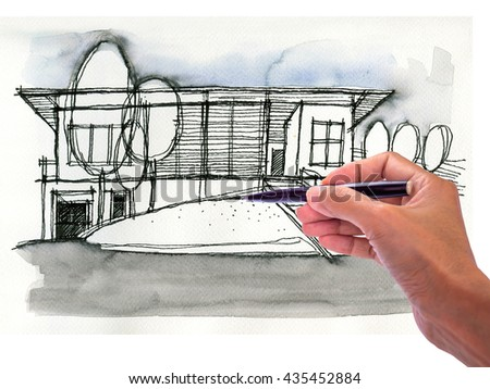 Designer hand drawing architecture sketch / Housing industry mortgage and builder construction, renovation & Real estate business concept - stock photo
