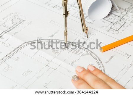 Designer hands working with project