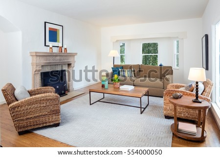Designer Living beautiful large living room interior hardwood stock photo