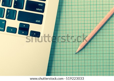 designer office table graph paper computer stock photo royalty free