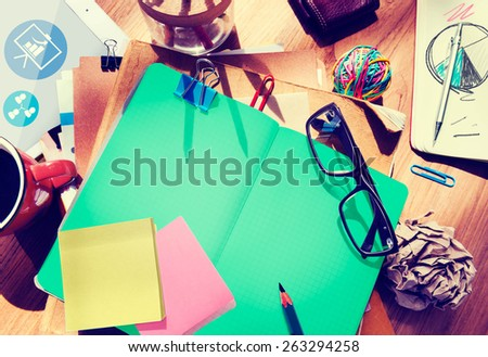 Designer's Desk with Architectural Tools Notebook Concept - stock photo