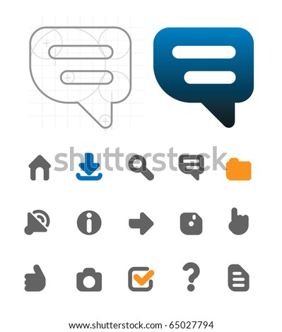 Designer's icons for website. Raster version. For vector version of this image, see my portfolio. - stock photo
