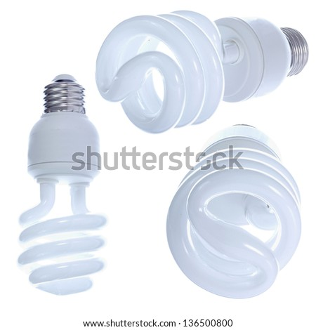 Designer's set of light bulbs. Angled views of modern light bulb isolated on white background. DOF increased by focus stack. - stock photo