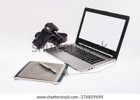 Designer Table , Graphic pen tablet , computer and camera