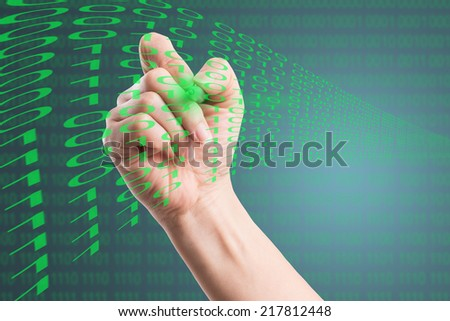 Designer touch Binary number for design program with your hand - stock photo