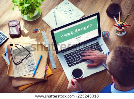 Designer Working on the Laptop - stock photo