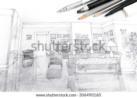 designers creative workspace with architecture hand-drawn sketch in black and white - stock photo