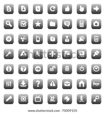 Designers icons set for computer and website interface. Raster version. Vector version is also available. - stock photo