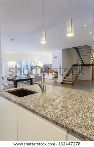 Designers interior - Kitchen and living room interior - stock photo
