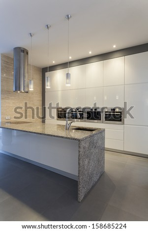 Designers interior -Kitchen in modern style with white and gray - stock photo