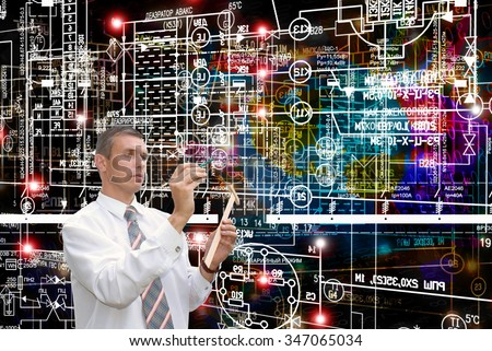 Designing engineering technology.Working Engineer.Electrical industrial engineering scheme - stock photo