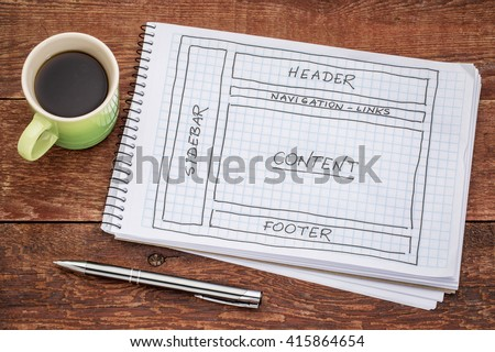 designing website layout - a sketch in a spiral notebook with a cup of coffee - stock photo