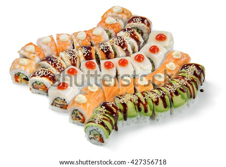 Desirable delicacy from Asia in accurate rows with different types of rolls. Sushi with shrimps, mussels, caviar, cucumber, bunch onion, perch and salmon. - stock photo