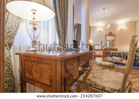 Desk and chair in luxury classic style room