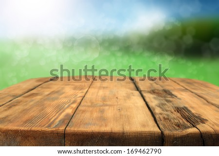desk and spring  - stock photo