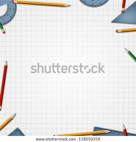 desk at school or office background - stock photo