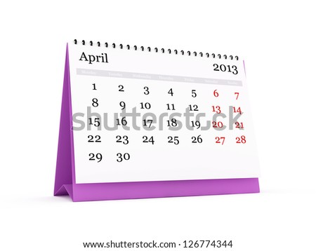 Desk calendar, April month, 2013 year, isolated on white background. Monday start.