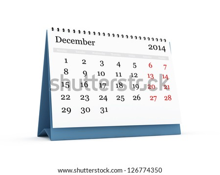 Desk calendar, December month, 2014 year, isolated on white background. Monday start.