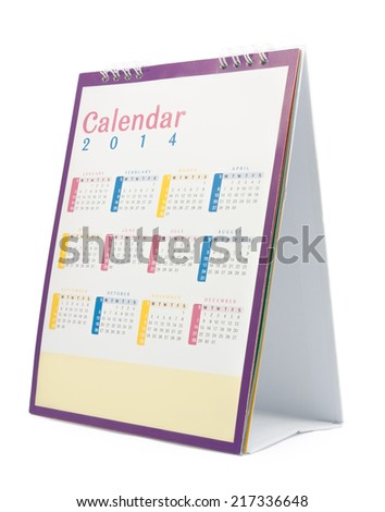 Desk Calendar 2014, isolated on white,  file includes a excellent clipping path - stock photo