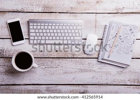 Office Desk Table Computer Notebookhandphone Keyboard Stock Photo 430433941 Shutterstock