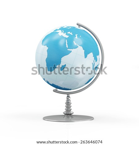 Desk Globe isolated on white background (Elements of this image furnished by NASA) - stock photo