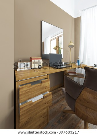 Desk in a modern bedroom, solid wood with an angular attachment. Above the table mirror on the desktop laptop, books and decor. Comfortable large chair with a soft padded base. 3D render.