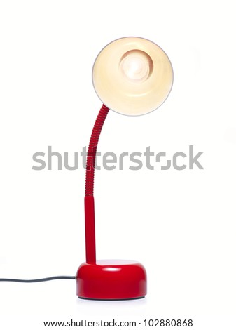 Desk lamp lighting on. Clipping path