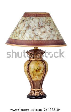 Desk lamp with a lamp shade, isolated on a white background - stock photo