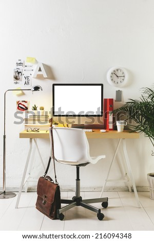 Desk of creative worker. /  Modern creative workspace.  - stock photo