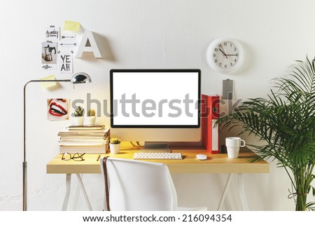 Desk of creative worker. /  Modern creative workspace.  - stock photo