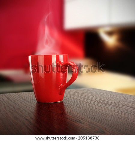 desk of red mug and room  - stock photo
