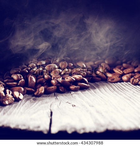 desk of white color and coffee and smoke  - stock photo