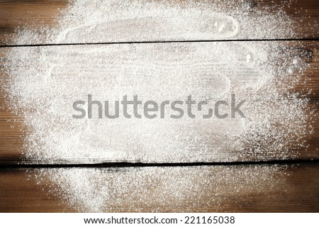 desk of white flour  - stock photo