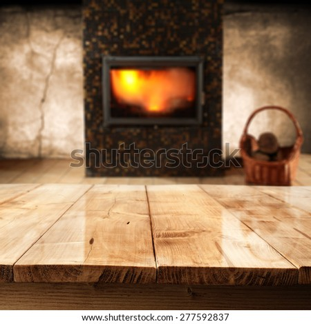 desk of wood and fire